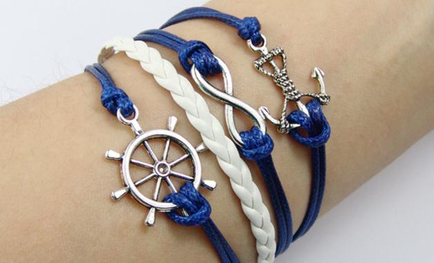 браслет морской с якорем