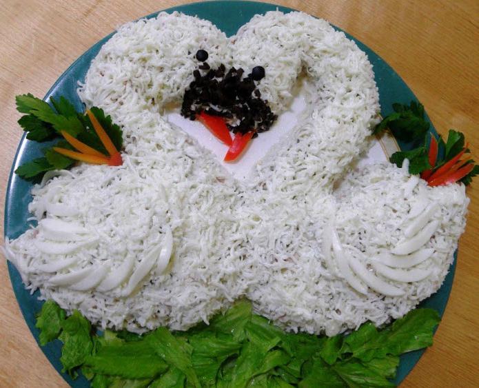 как приготовить салат белый лебедь