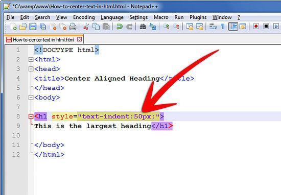 html красная строка