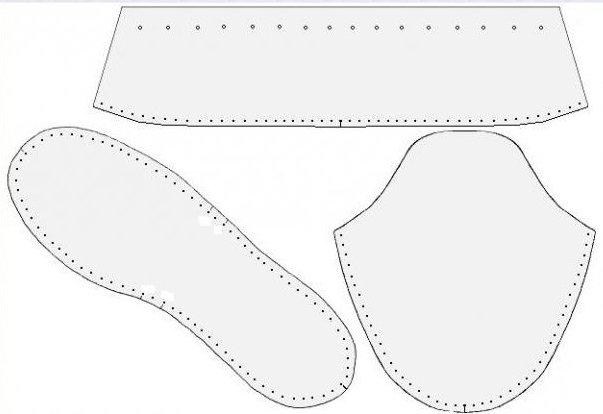 выкройка тапочек из меха с размерами