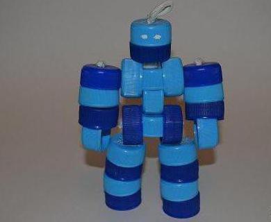 как сделать робота из крышек