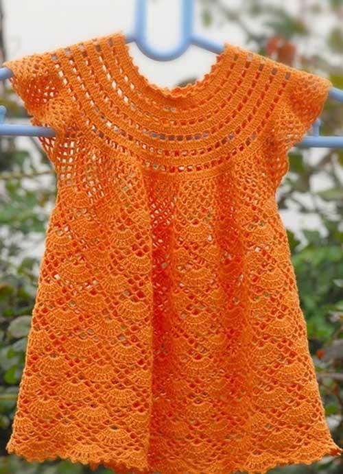 Вязаные крючком платья для девочек: фото и описание