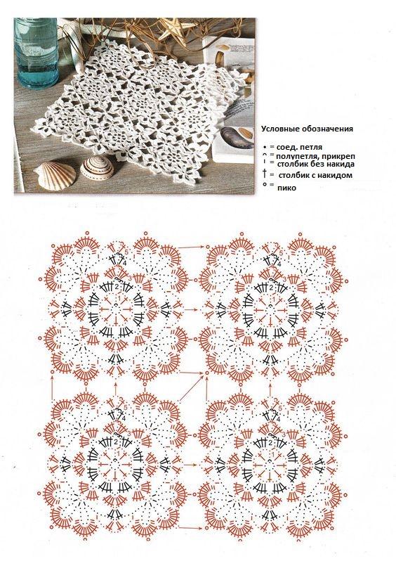 салфетки крючком из мотивов схемы описание порядок сборки