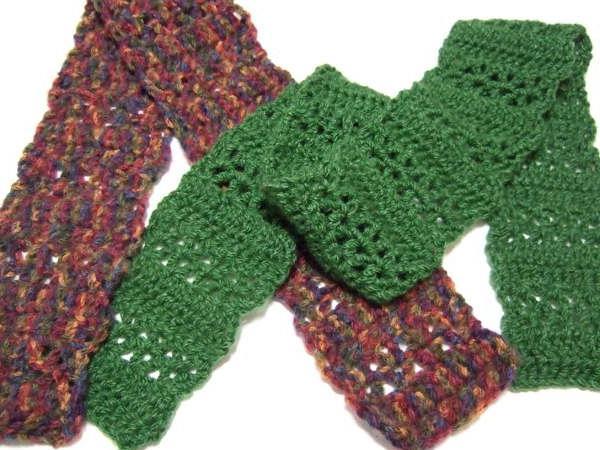 шарф столбик с двумя накидами