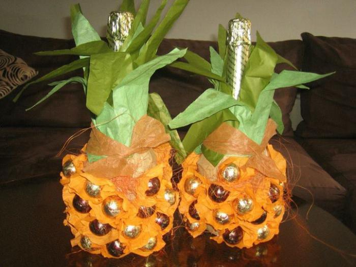 ананас из конфет пошаговое фото