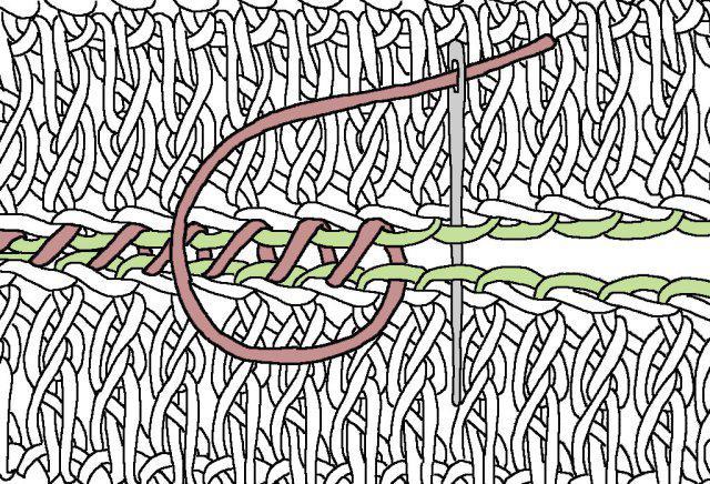 соединение отдельных мотивов связанных крючком