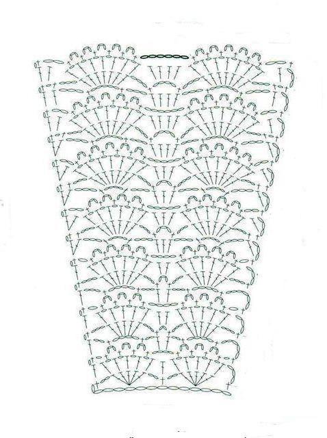 юбка узор крючком ракушки