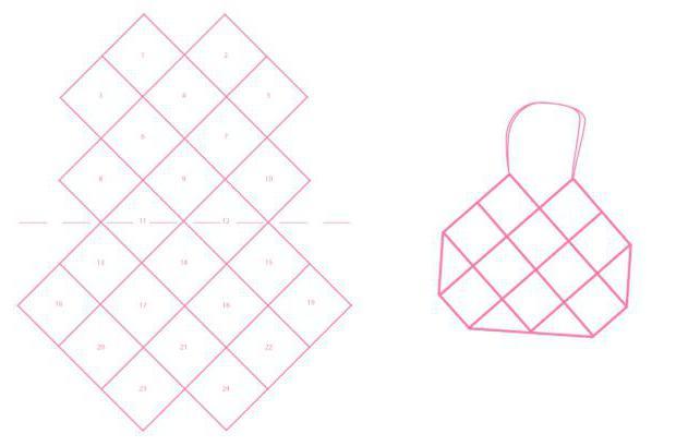 пляжная сумка крючком схема расположения квадратов