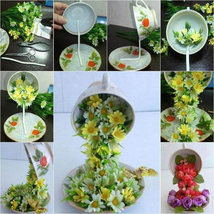 Чашка с цветами сделать своими руками