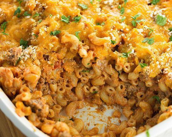 Рецепт Запеканка из макарон с фаршем и томатным соусом