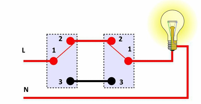 Схема соединения одной лампы с двумя выключателями