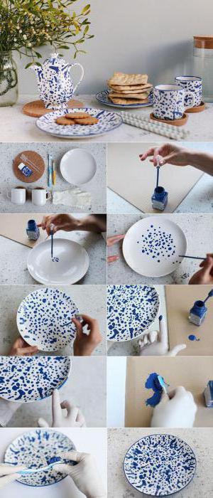 роспись тарелок акриловыми красками