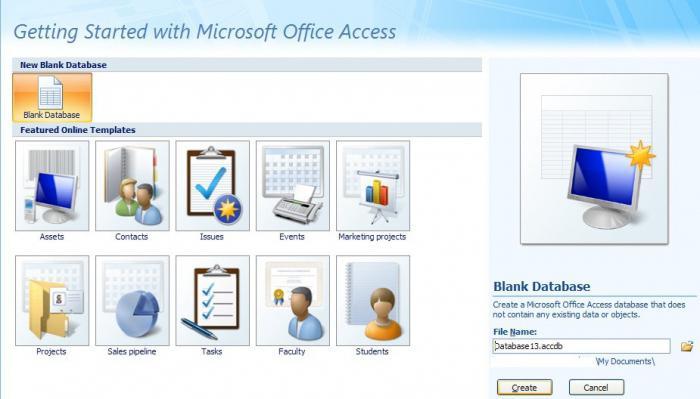 создать базу данных в access