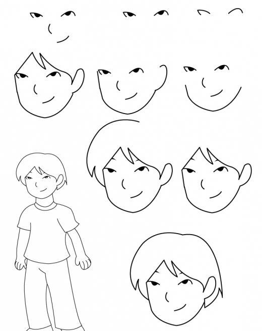как нарисовать мальчика поэтапно