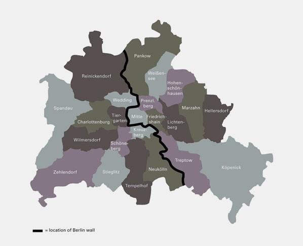 берлинская стена на карте