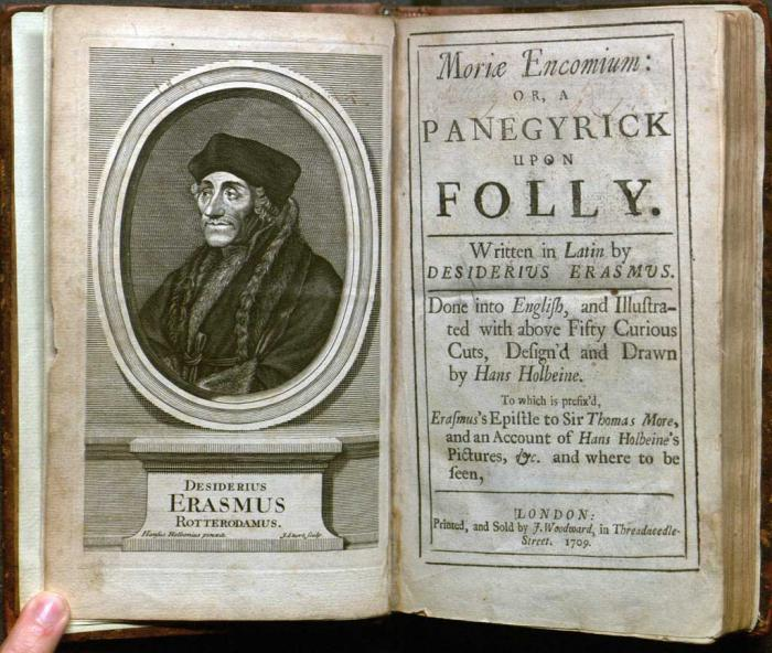 review about the praise of folly by erasmus Praise of folly should be on every civilised bookshelf there was a time when it was: it was the must-read of its day, and reverberations from its impact are still being felt.
