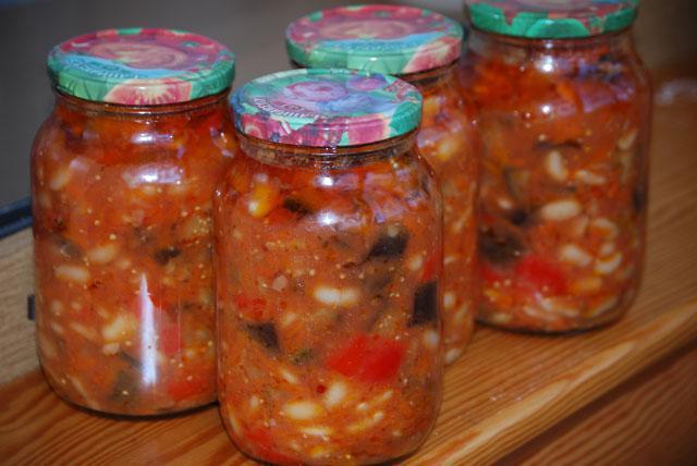 Салат на зиму с баклажанами и фасолью рецепт
