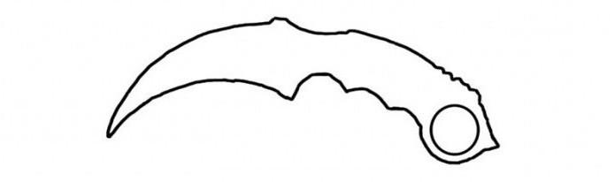 как нарисовать керамбит поэтапно карандашом