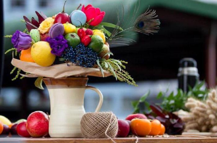 сделать своими руками фруктовый букет в корзине