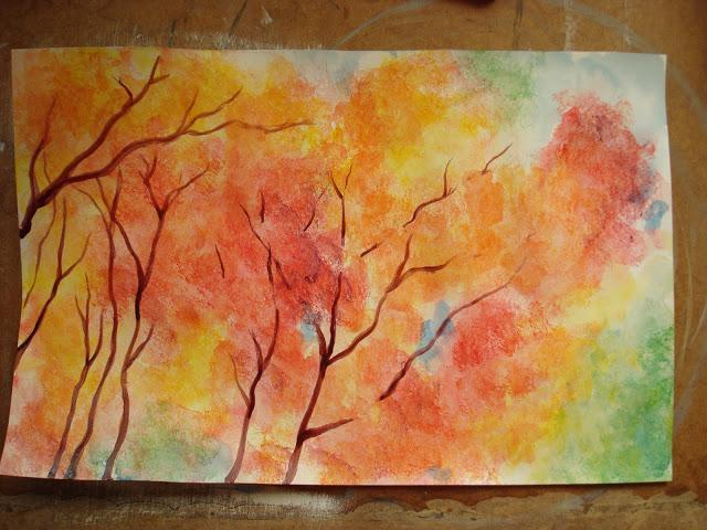 Нарисовать осень красками поэтапно фото