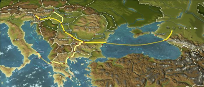 южный поток газопровод карта