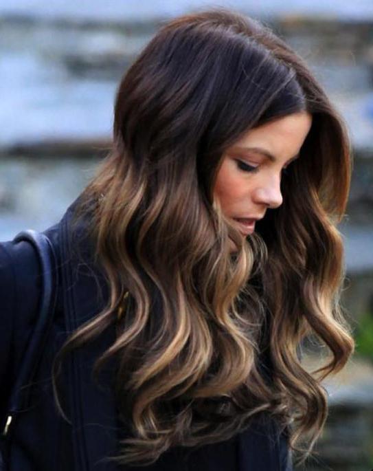 омбре на русые длинные волосы с челкой