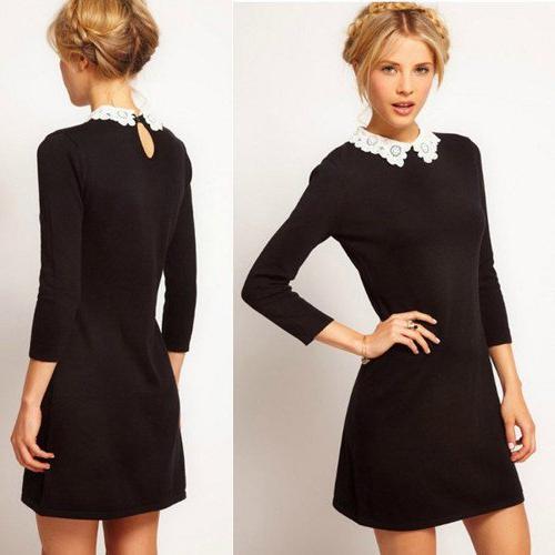 Чёрное платье с рукавом по локоть