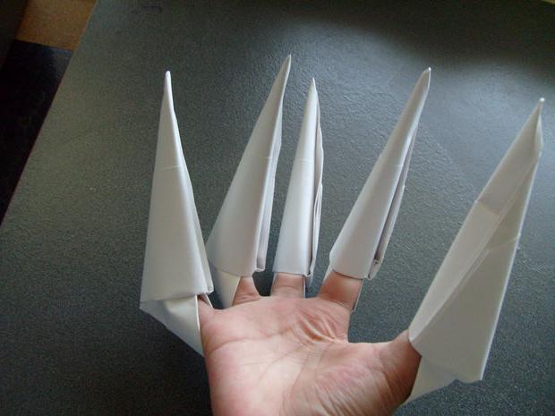 оригами из бумаги когти росомахи