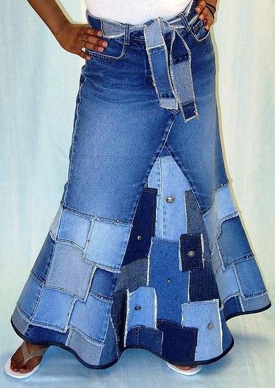 Шитье юбка из джинс