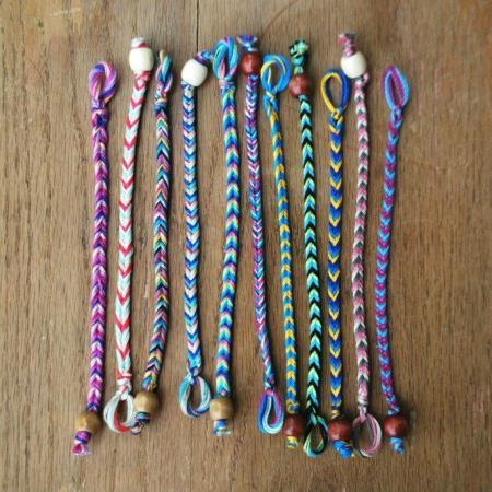 Как сделать браслет из ниток из 2 ниток