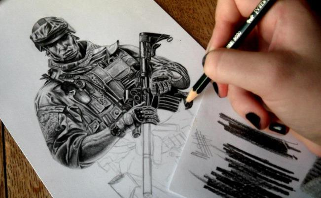 армейские рисунки карандашом: