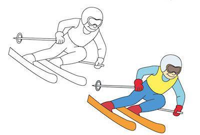как нарисовать лыжника карандашом поэтапно