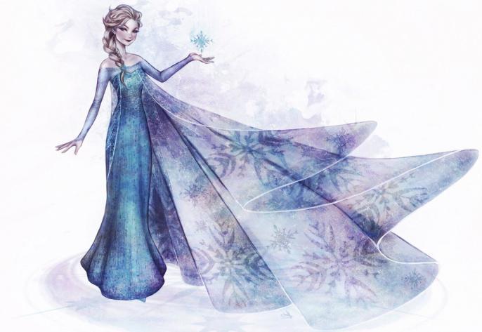 Как нарисовать эльзу в платье