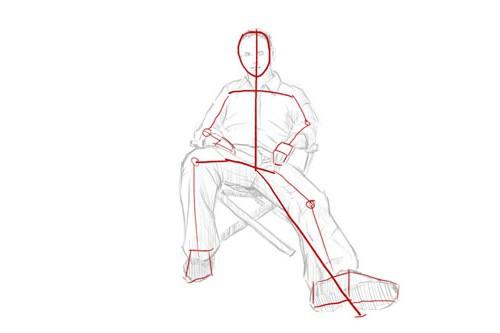 человека рисунки сидящего боком