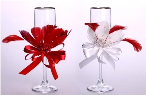 Украшение бокалов на свадьбу своими руками
