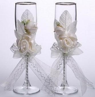 Украшение бокалов свадьбу своими руками
