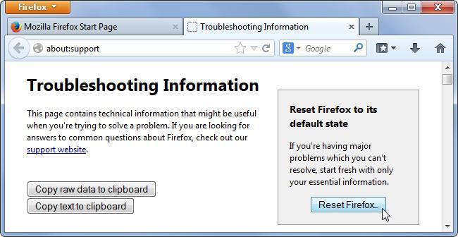 Очистка параметров Firefox