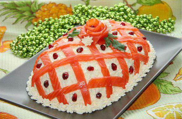 рецепты салатов с красной рыбой и икрой