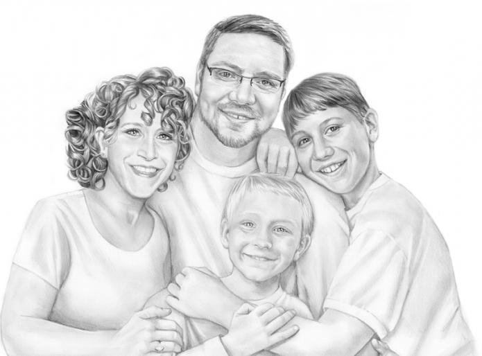 Картинка счастливая семья нарисованная карандашом