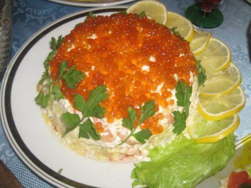 салат царский с красной икрой и креветками и кальмарами рецепт