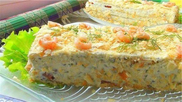 закусочный торт наполеон с консервой из готовых коржей с фото