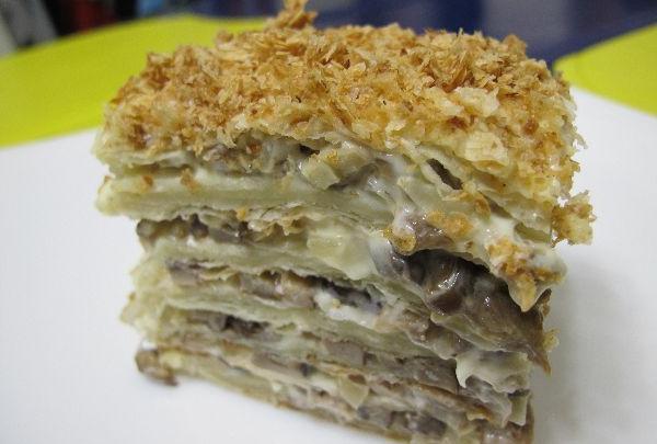 закусочный торт наполеон из готовых коржей