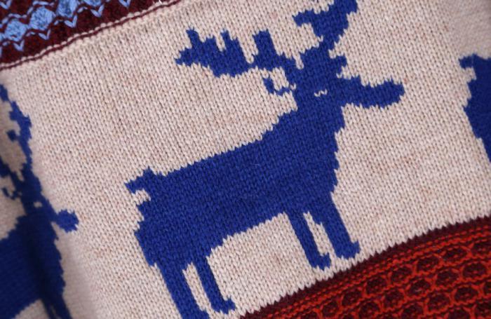 вязание мужского свитера с оленями