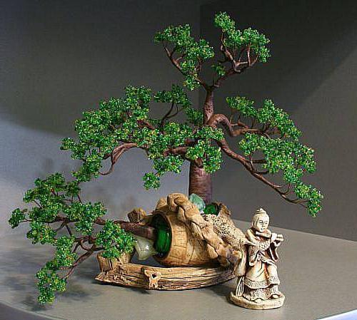 деревья из бисера схемы плетения бонсай