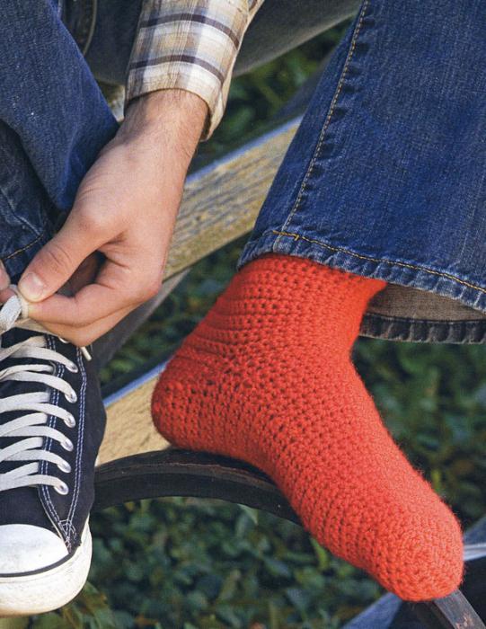 как связать носок крючком