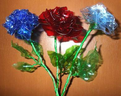 сделать из пластиковой бутылки цветы
