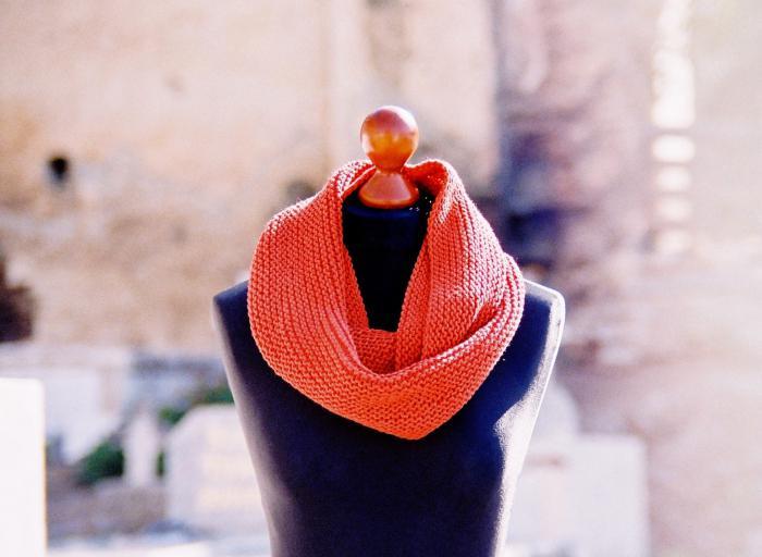 как связать шарф трубу спицами