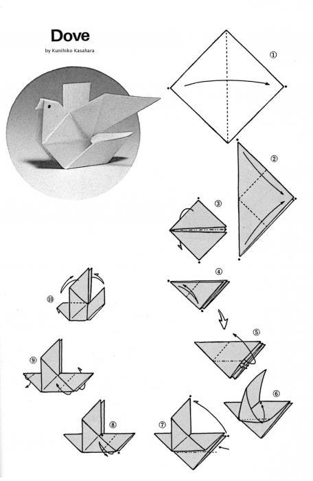 Голубь мира (поделка из бумаги): схема