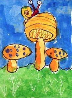 рисование грибы в старшей группе