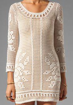 платье филейное вязание крючком схемы